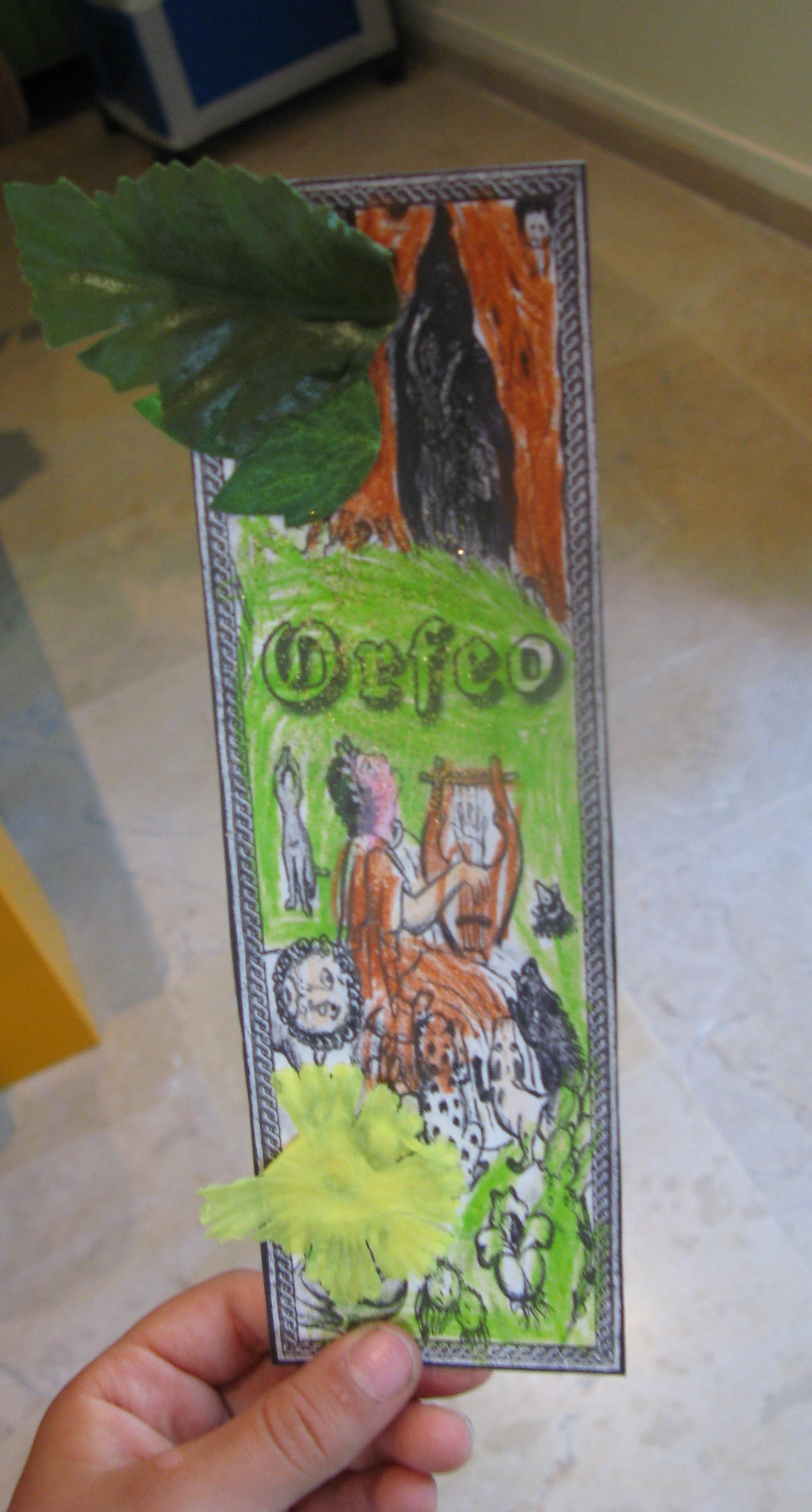 Introduccion al mundo de la musica antigua. Marca paginas de Orfeo en color.