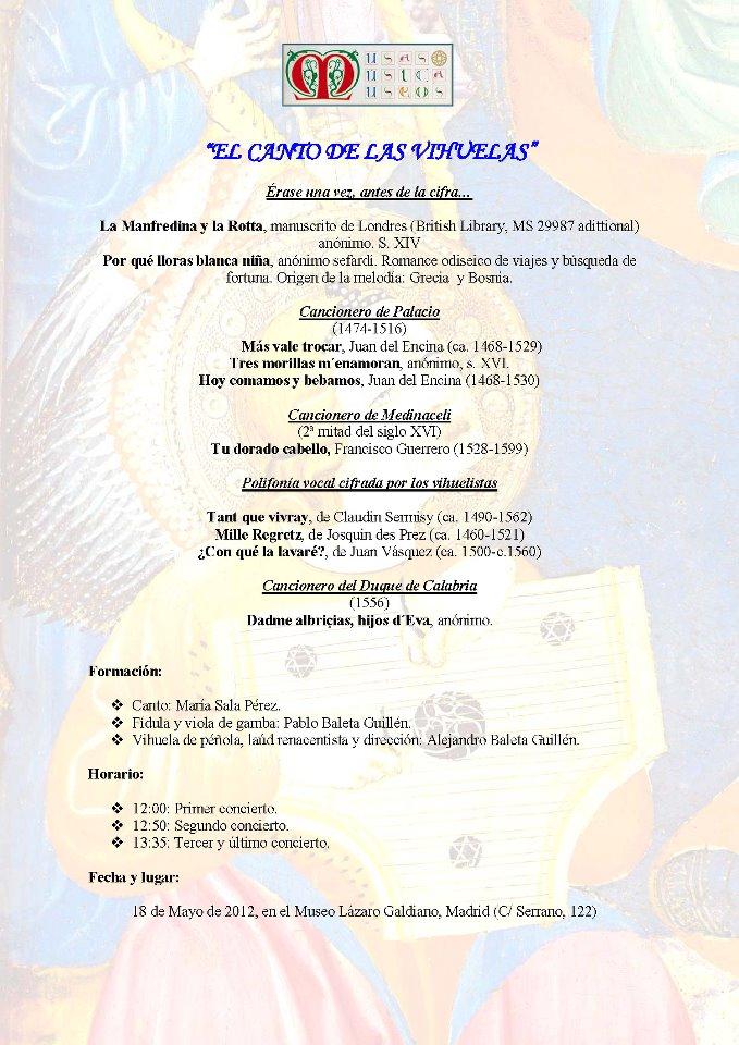 Programa Museo de Bellas Artes de Valencia. 25/05/2012. Internet